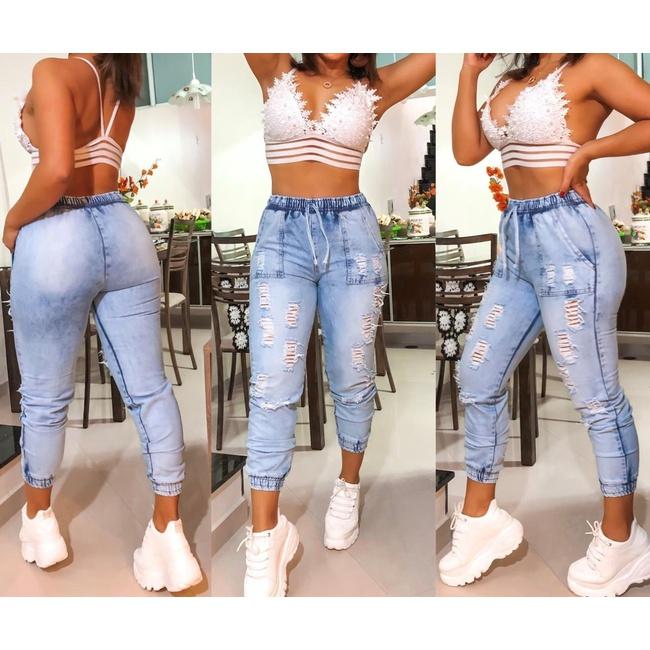 Calça Jeans Cargo - Clarinho