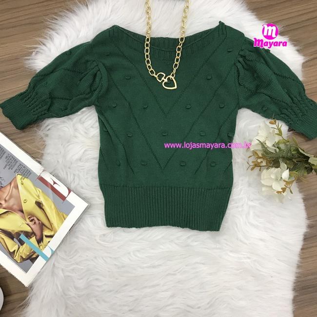 Blusa Trico|Bolinhas em Relevo|Meia Manga - Verde