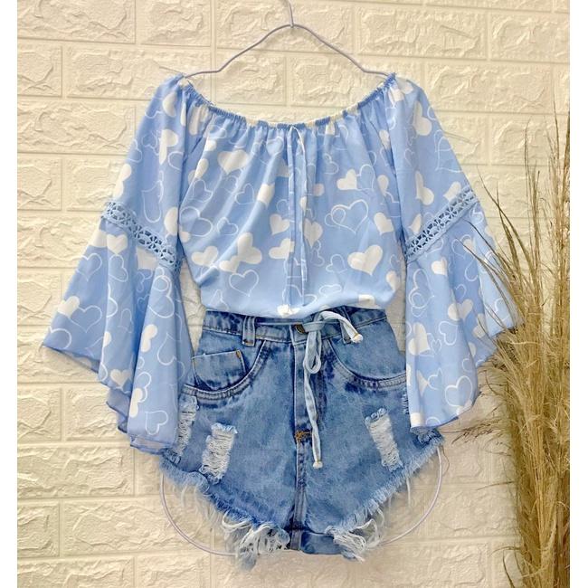 Blusa Bata Ciganinha Coração Azul Clara
