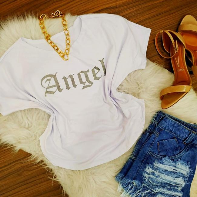T-shirt Angel com Asas Branca