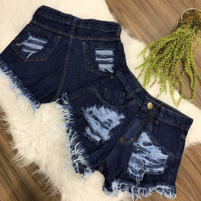Shorts Jeans Destroyed Escuro