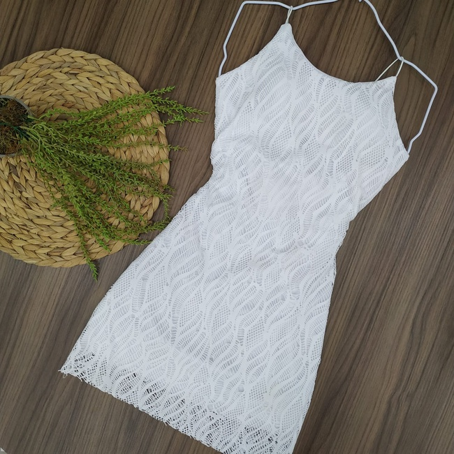 Vestido Renda com Alça Branco