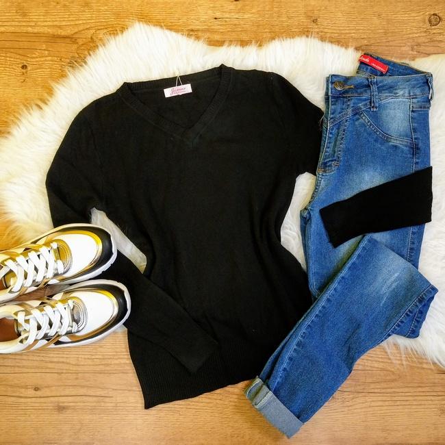 Blusa Trico Lisa - Preto