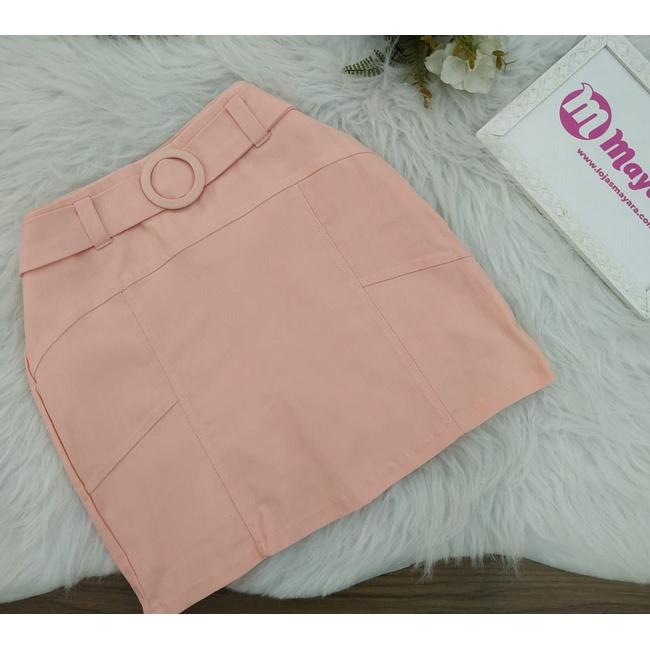 Shorts Saia Com Cinto Bolinha Rosa