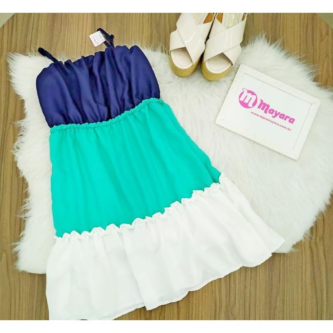 Vestido Alcinha Azul, Verde e Branco