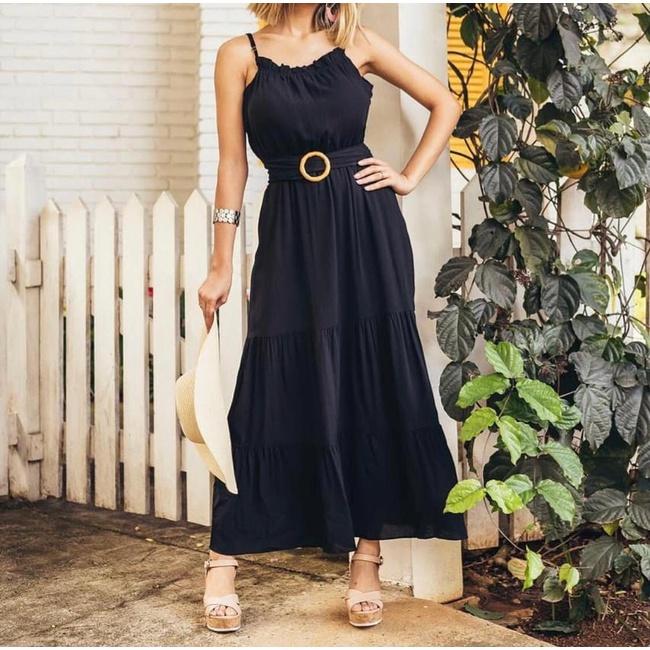 Vestido Longo Com Cinto Preto