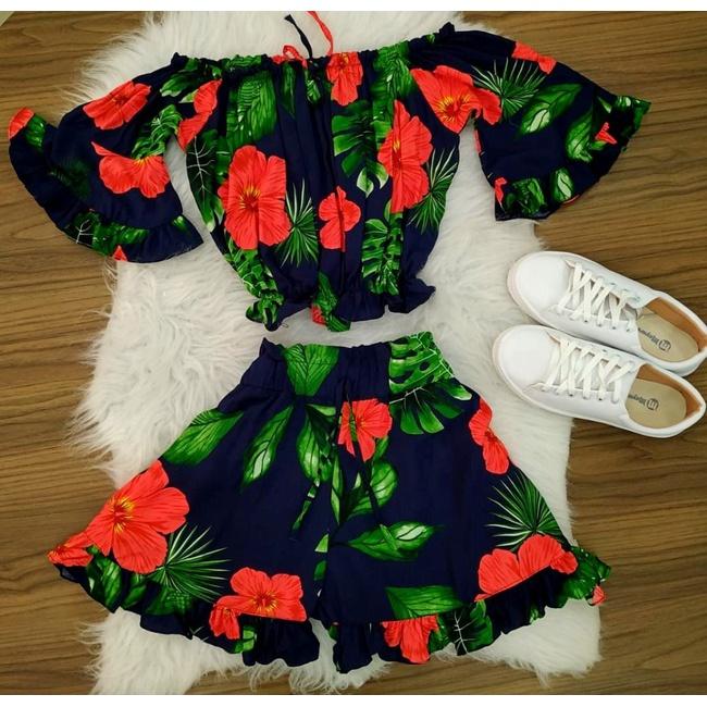 Conjunto | Shorts e Cropped Ciganinha|azul e Verde