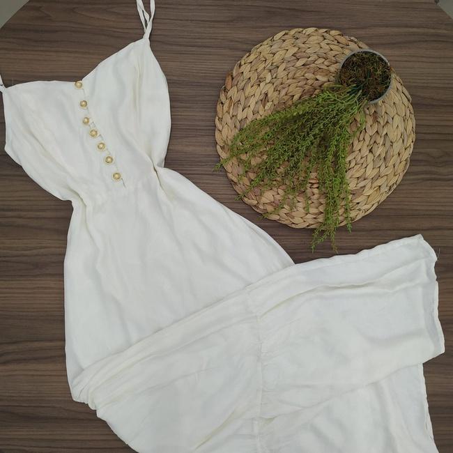 Vestido Longo Com Botões Off White