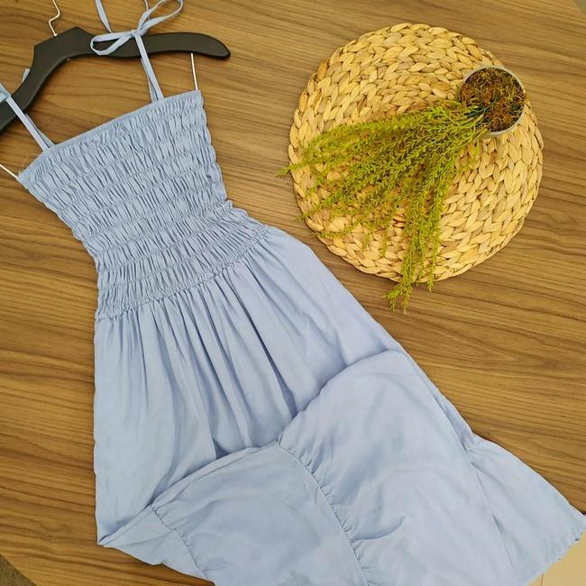 Vestido Longo Com Elástico Azul Claro