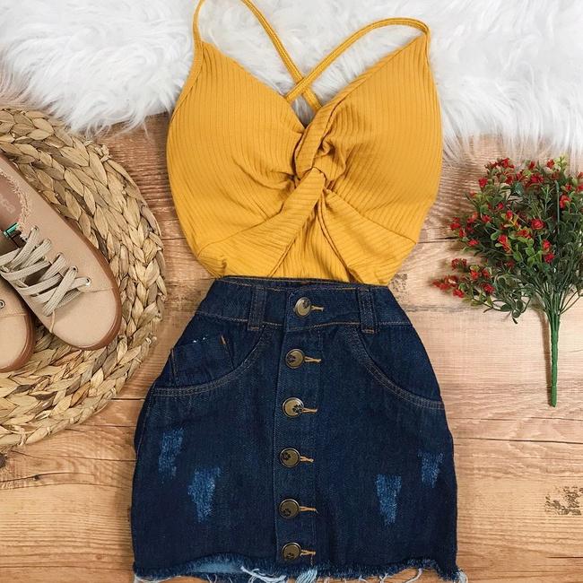 Body Canelado Amarelo