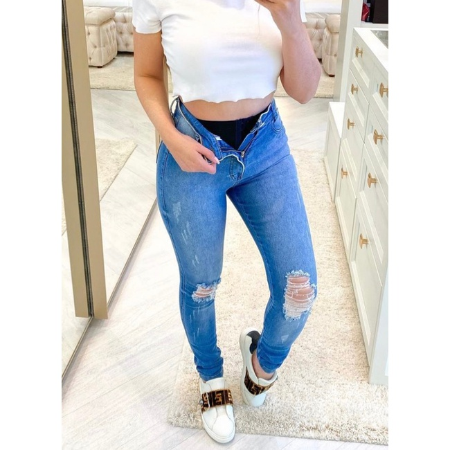 Calça Jeans Melinda|Com cinta Modeladora| - Cor Médio