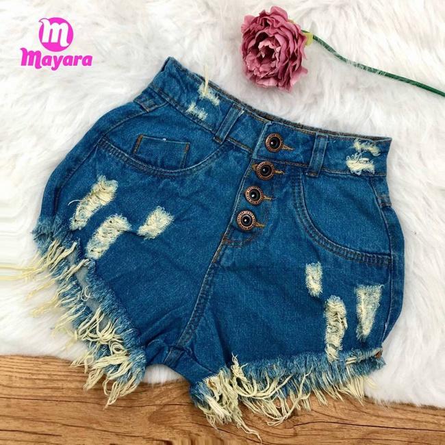 Shorts Jeans Com Desfiados