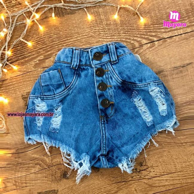 Shorts Jeans Botões e Rasgos