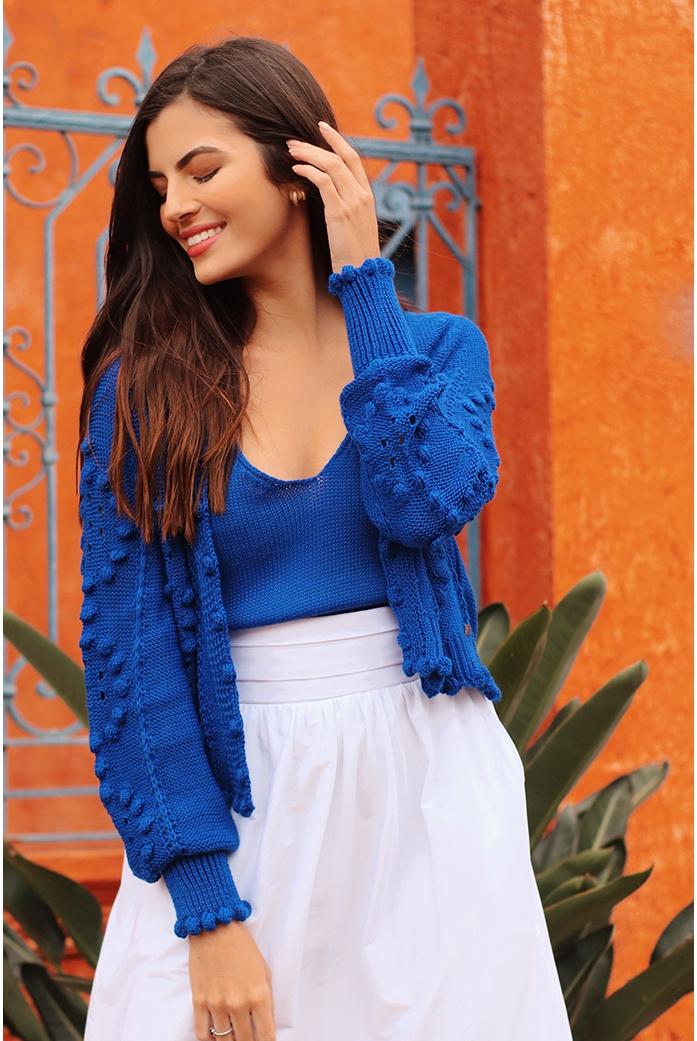 Cropped e casaco ilhabela azul blessed - DBoneca