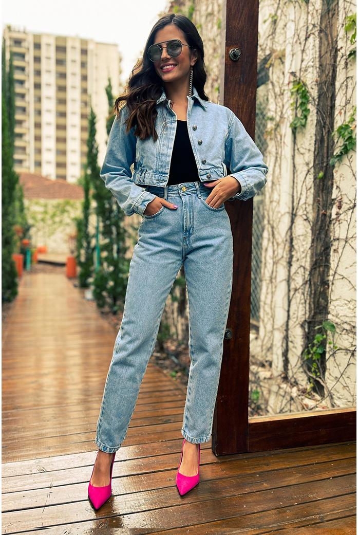 Calça mom basic alcance jeans - DBoneca