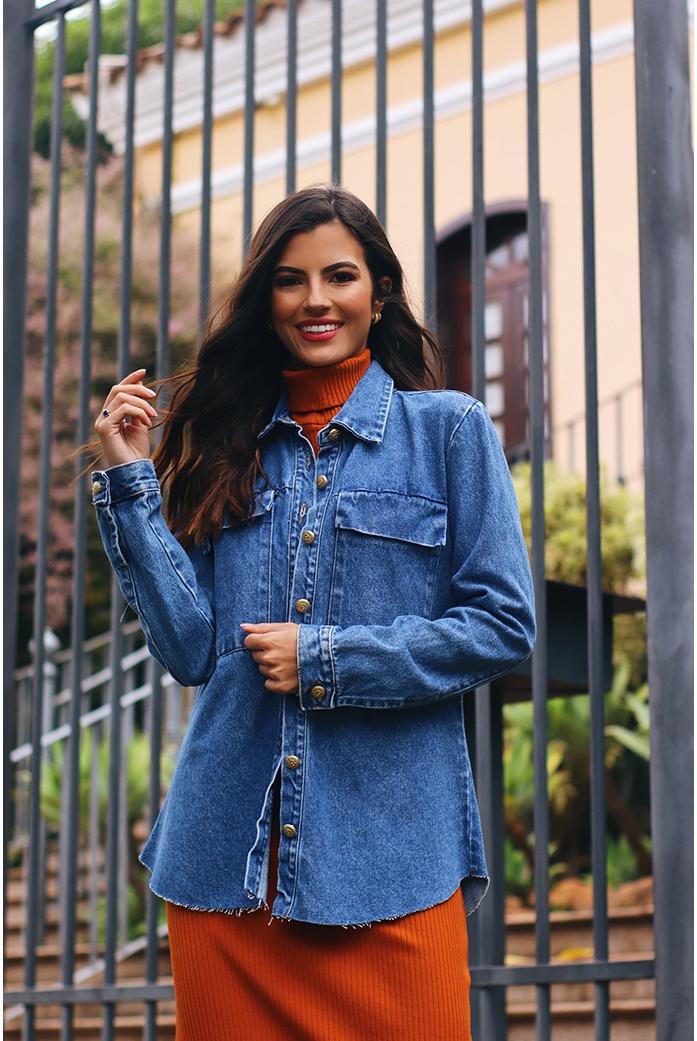 Camisa jeans bols alcance jeans - DBoneca