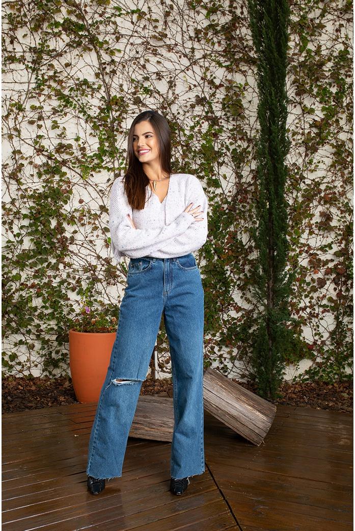 Calça widi leg escuro alcance jeans - DBoneca