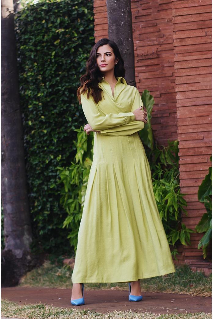 Calça ampla pregas verde vida bela - DBoneca