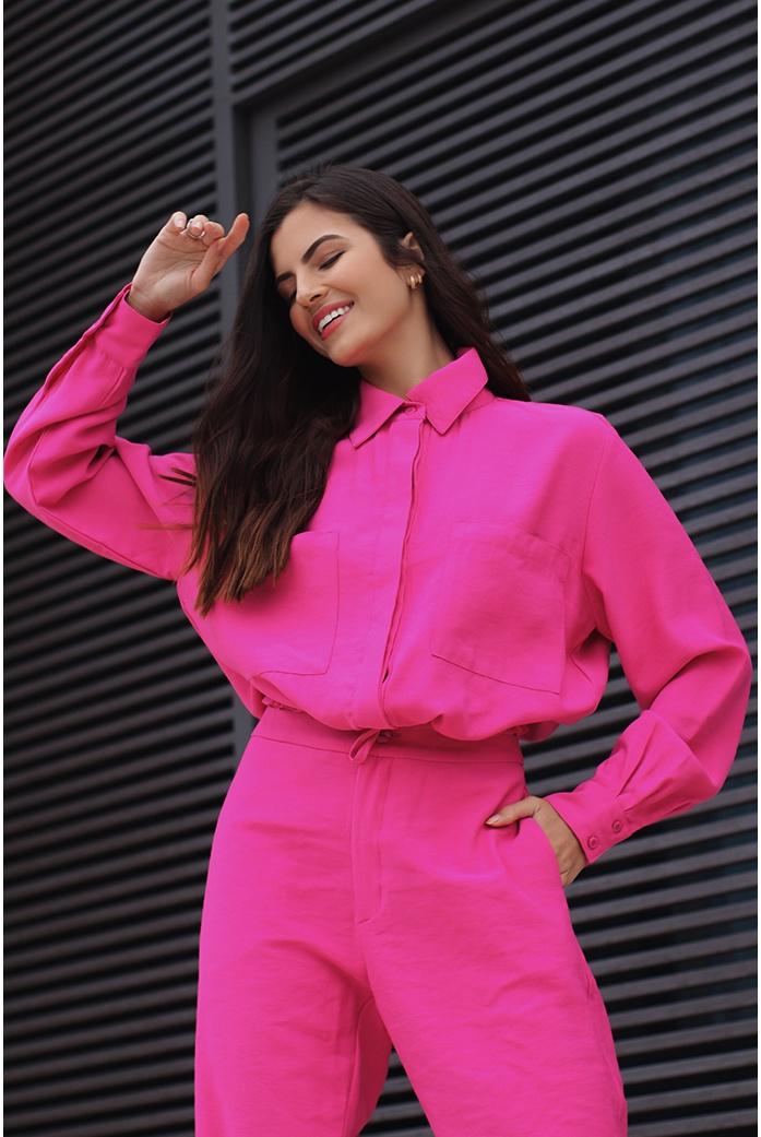 Camisa alfaiataria rosa vida bela - DBoneca