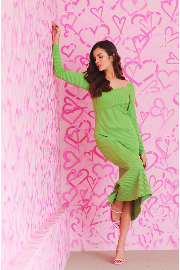 Vestido canelado midi california verde blessed - DBoneca