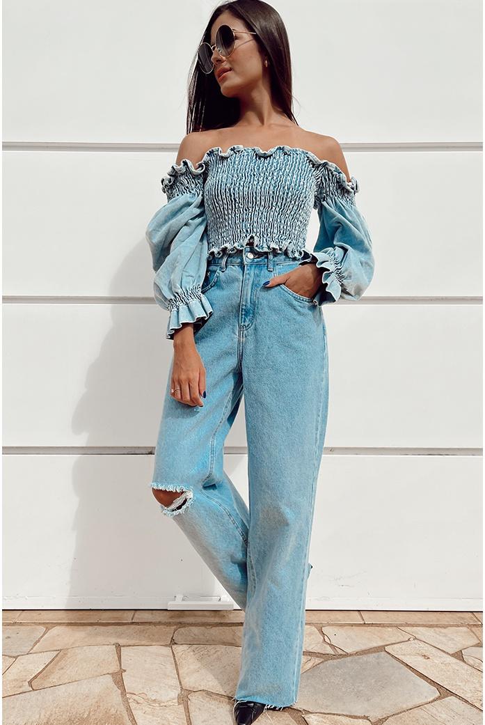 Calça wide legg joelho grilafado clara alcance jeans - DBoneca