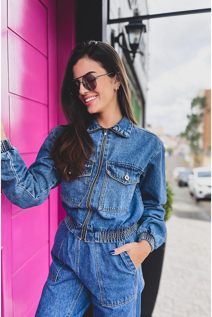 Jaqueta cropped elastico alcance jeans - DBoneca