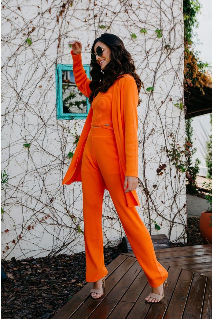 Calça Trico Gramado laranja Blessed - DBoneca
