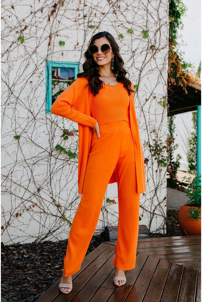 Cropped trico gramado laranja blessed - DBoneca