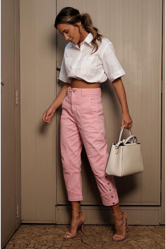 Calça sarja rosa vida bela - DBoneca