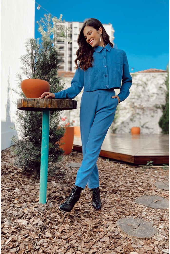 Calça linho azul vida bela - DBoneca