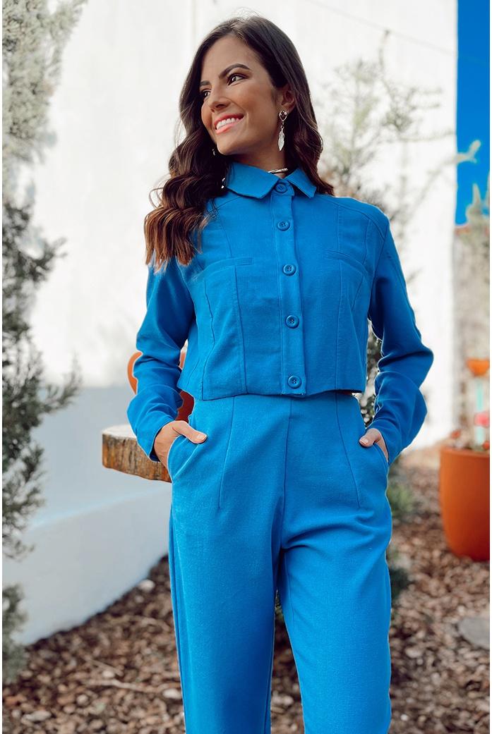 Jaqueta linho azul vida bela - DBoneca