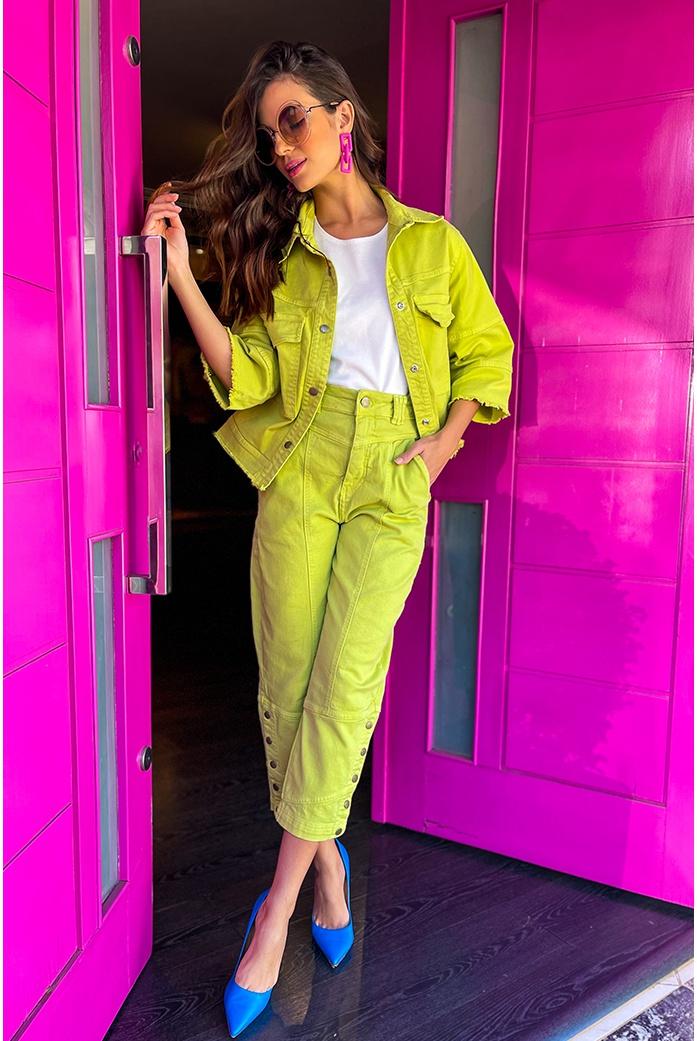 Calça sarja verde vida bela - DBoneca