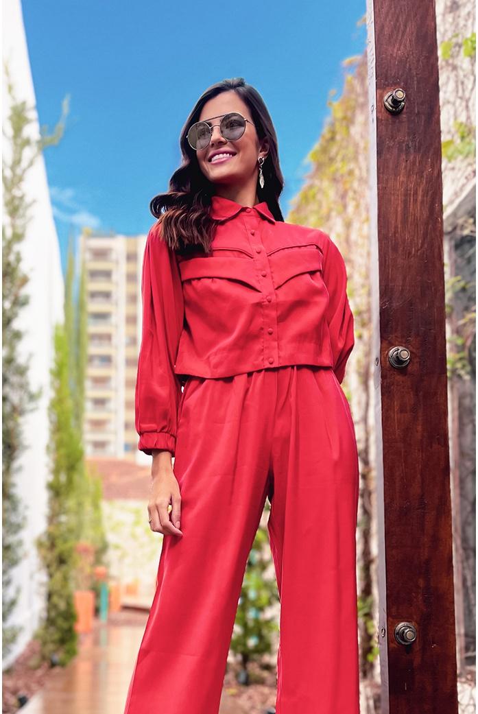 Camisa alfaiataria vermelha vida bela - DBoneca