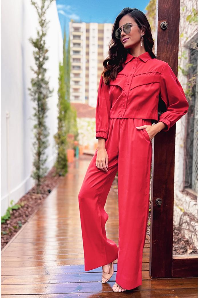 Calça pantalona vermelha vida bela - DBoneca