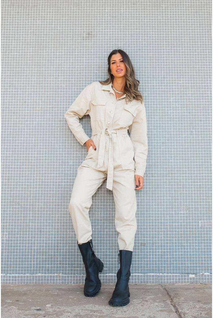 Macacão utilitario Off Alcance jeans - DBoneca