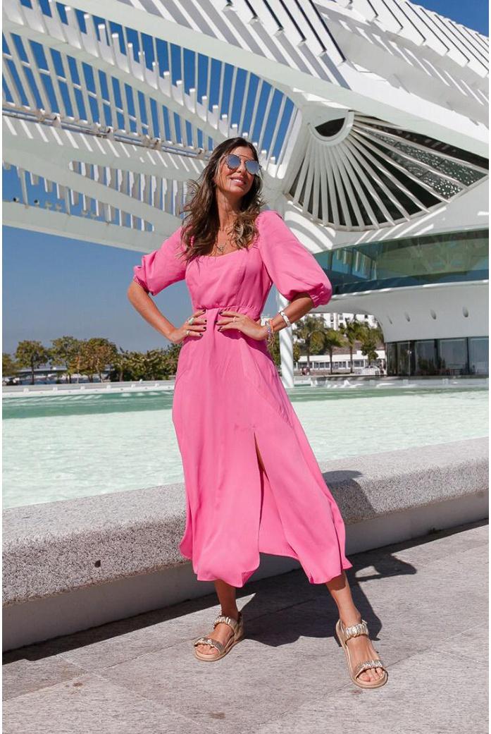 Vestido midi rosa vida bela - DBoneca