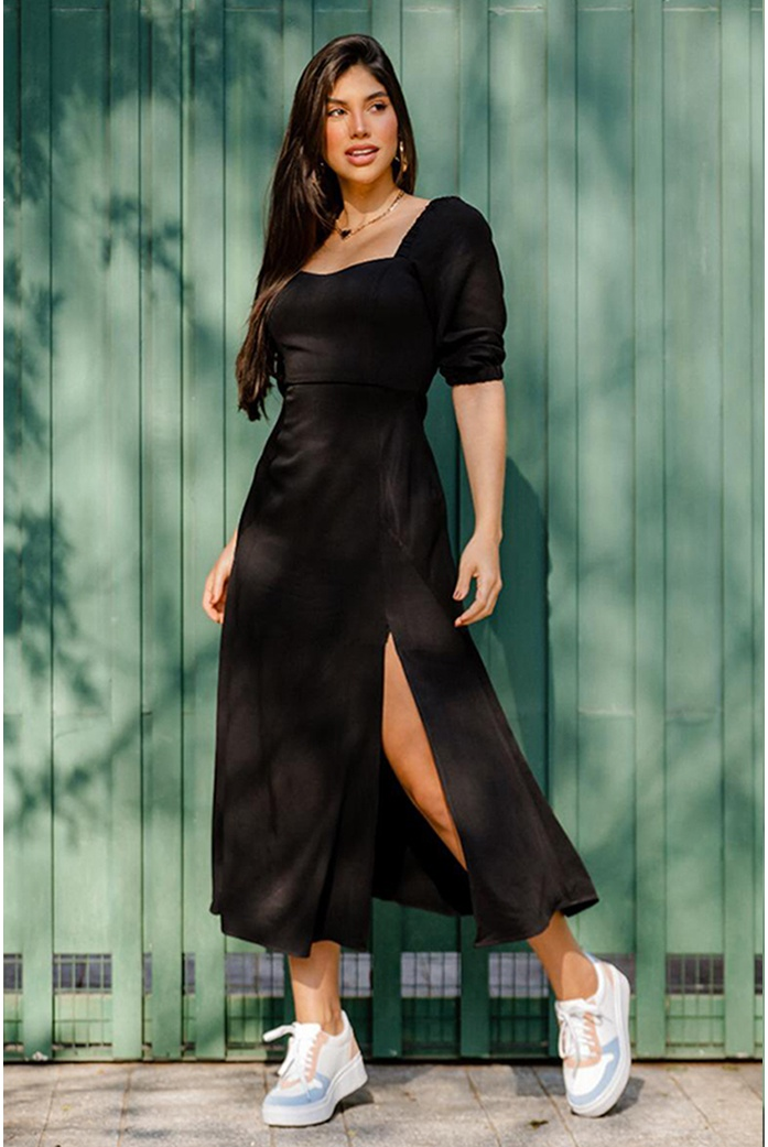 Vestido midi decote costa preto vida bela - DBoneca