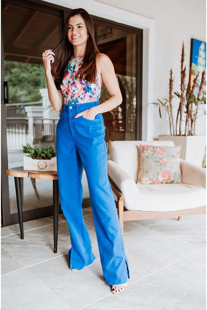calça jeans wide leg azul alcance jeans - DBoneca