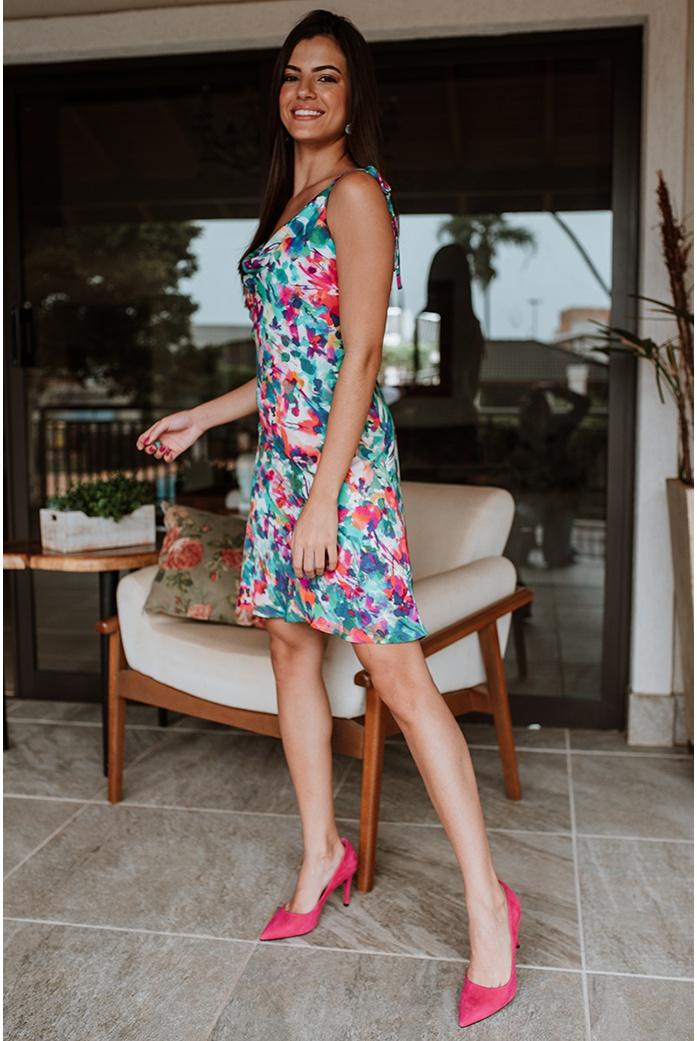 vestido degage estampa floral vida bela - DBoneca