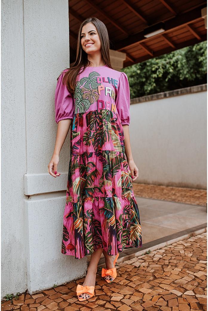 vestido midi silk olhe para mim farm - DBoneca