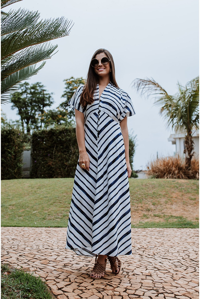 Vestido striped listrado blue blessed - DBoneca