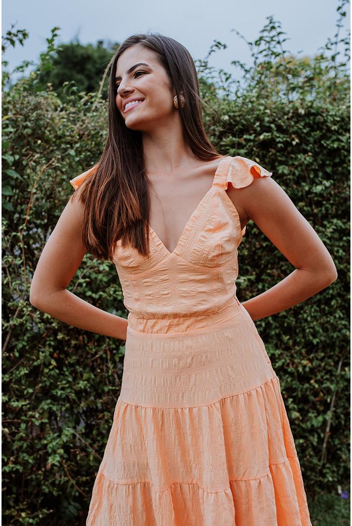 Top cropped textura laranja vida bela - DBoneca