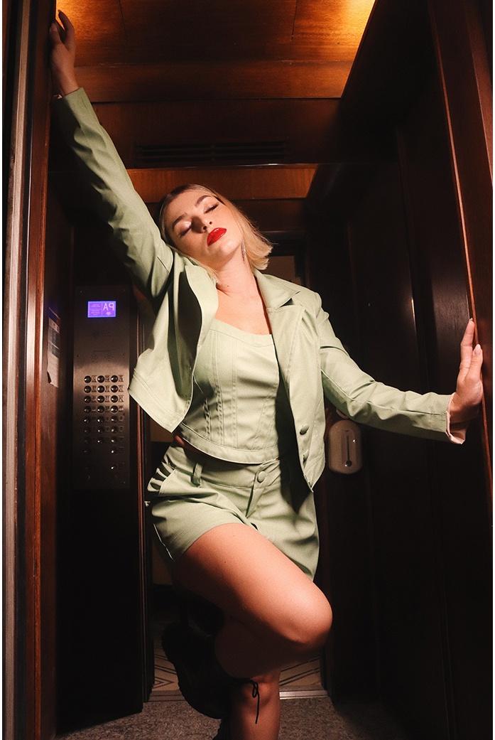 Jaqueta couro verde Vida bela - DBoneca