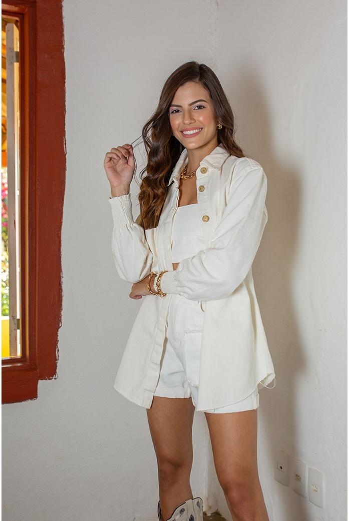 Camisa off white punho alcance jeans - DBoneca