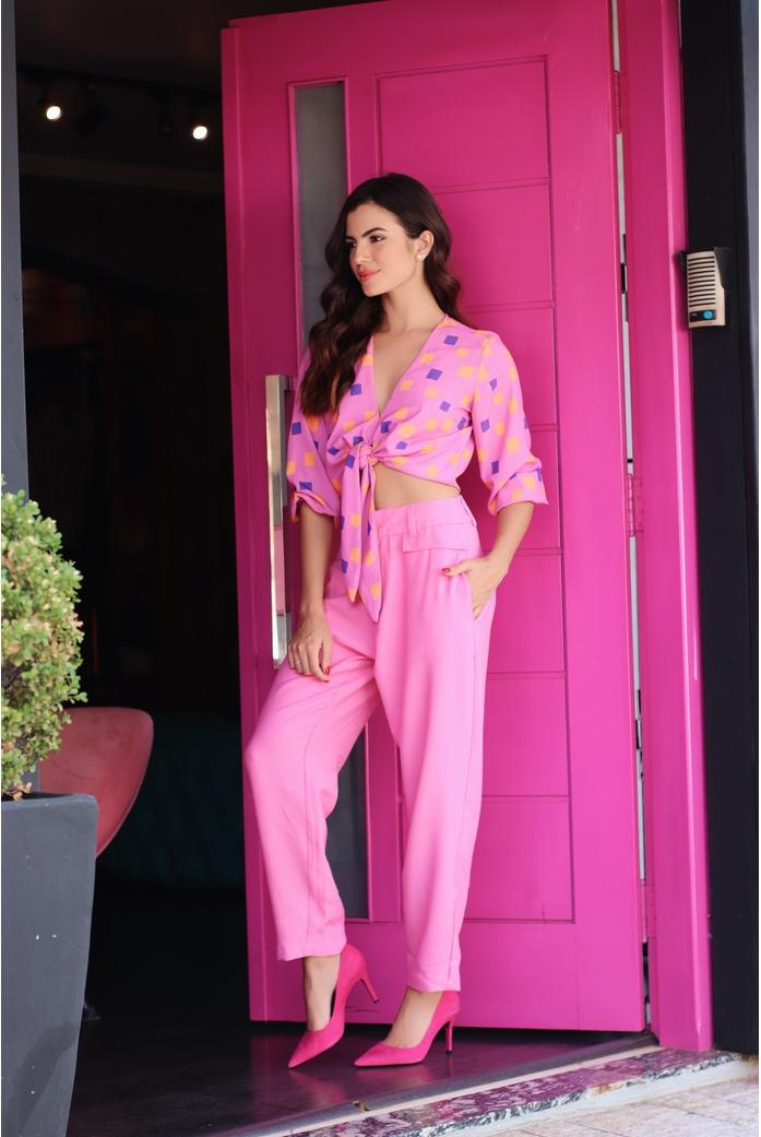 Calça alfaiataria rosa vida bela - DBoneca