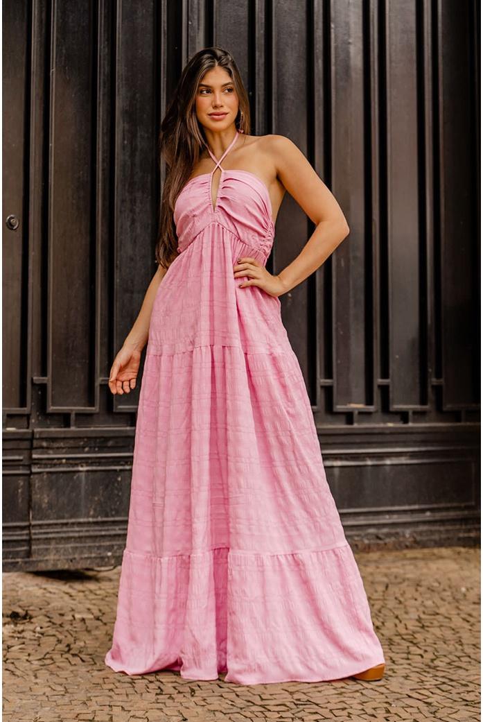 Vestido longo decote Rosa Vida Bela - DBoneca