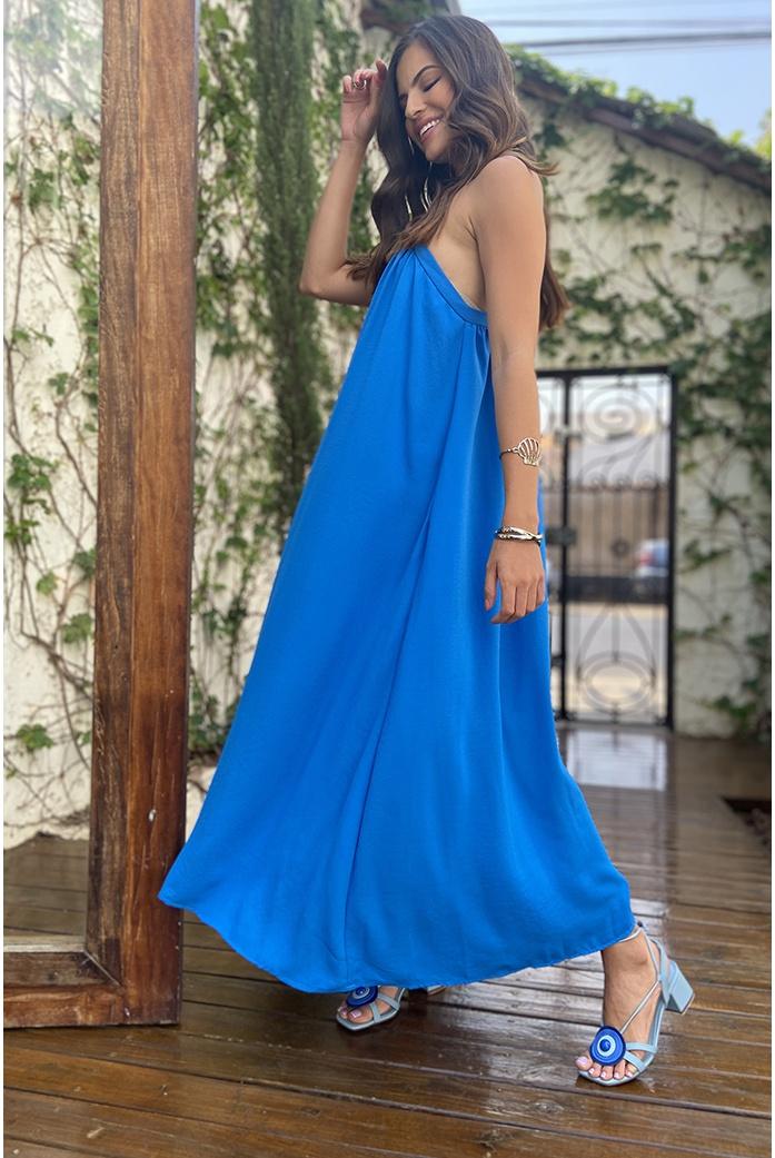 vestido longo azul decote triangulo vida bela - DBoneca