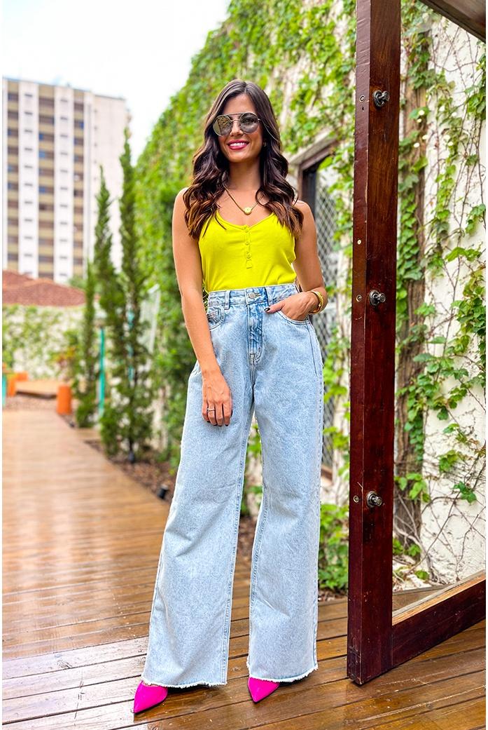 Calça jeans pantalona Vida bela - DBoneca