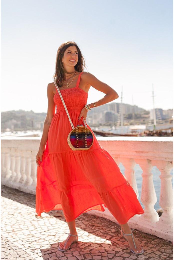 Vestido mídi lastex laranja vida bela - DBoneca