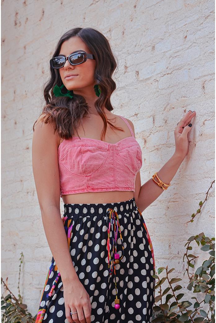Top color vintage rosa alcance jeans - DBoneca